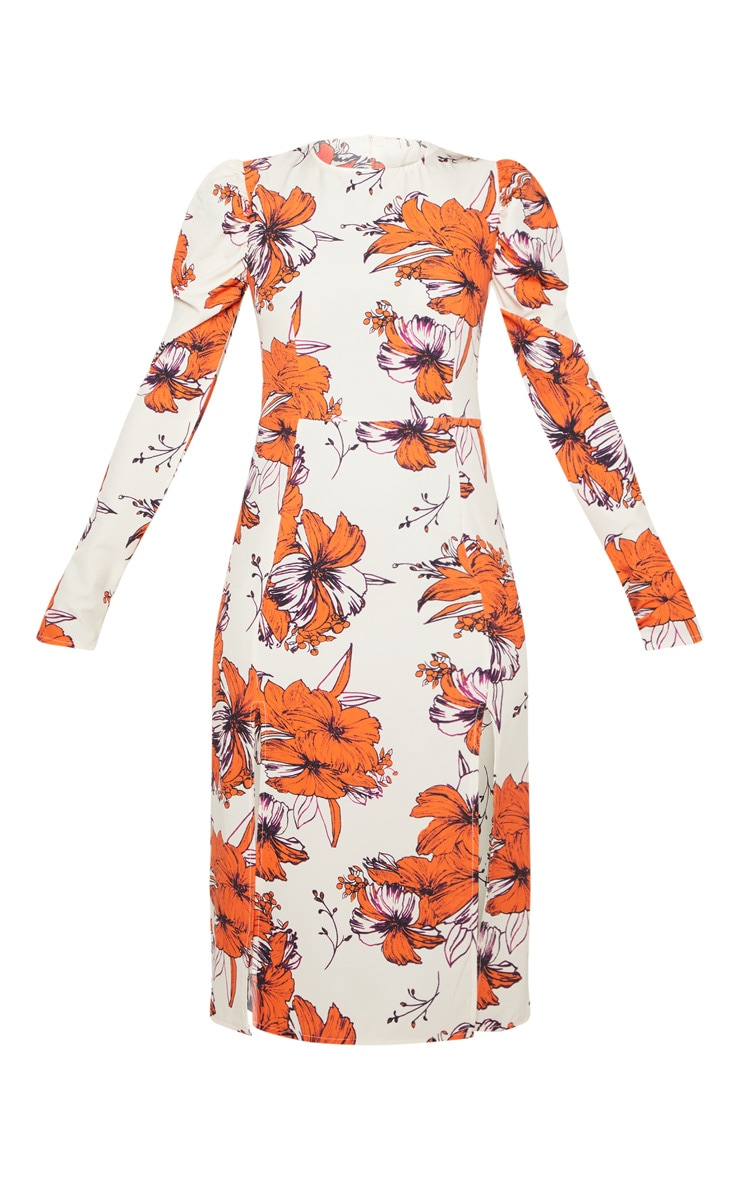 Nude Floral Sleeve Split Detail Midi Dress 3