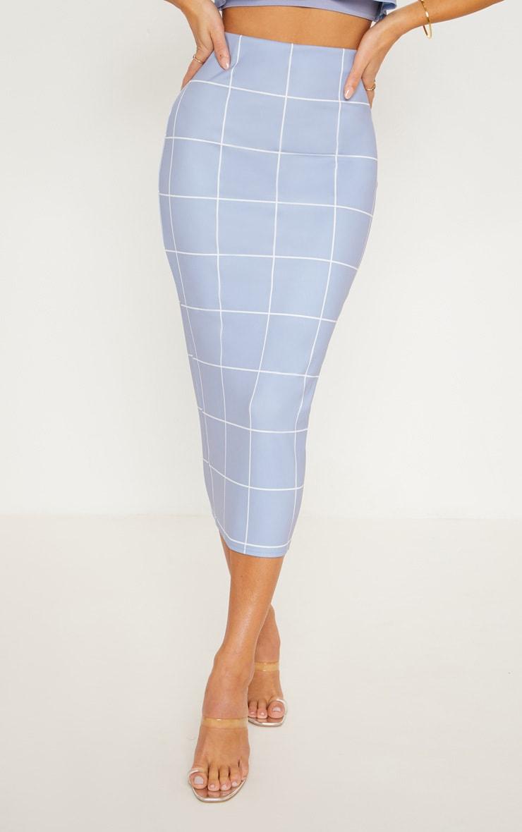 Dusty Blue Window Check Midi Skirt 2