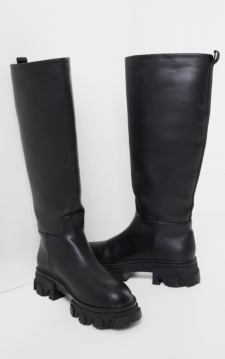 Black Extreme Cleated Sole Calf High Wellie Boots 3