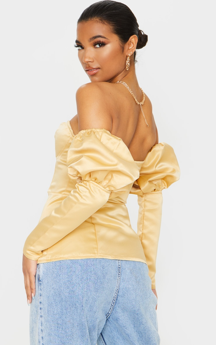 Sand Satin Bardot Puff Sleeve Long Top 2