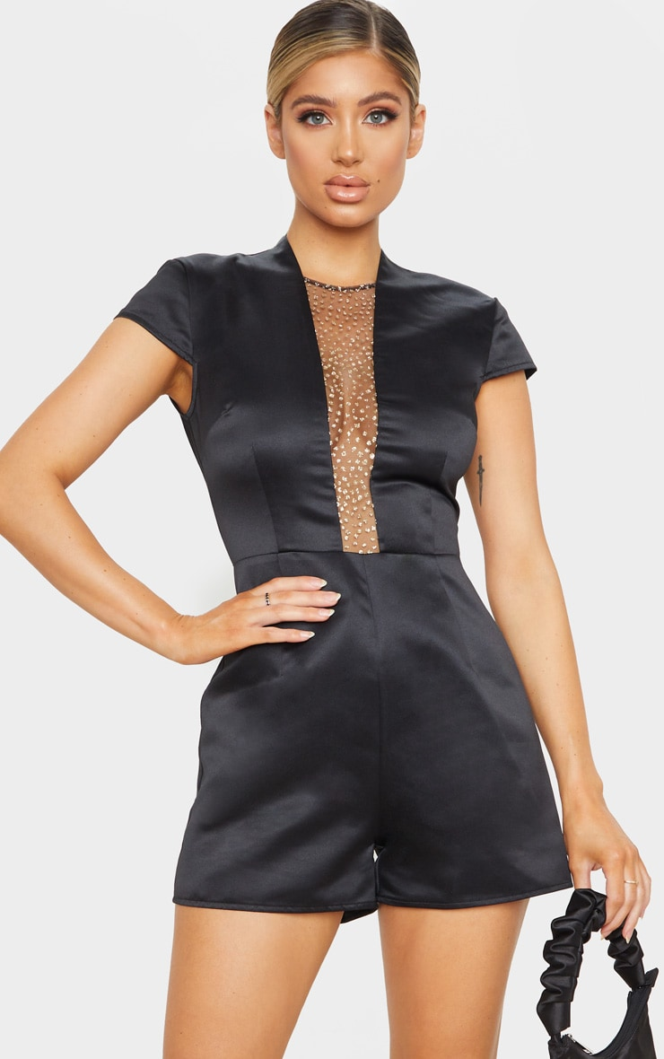 Black Satin Glitter Mesh Plunge Playsuit 4