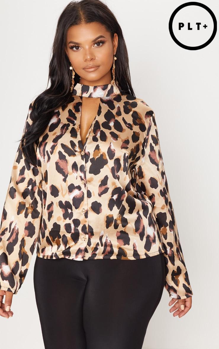 Plus Tan Silky Leopard Print Choker Detail Blouse 1