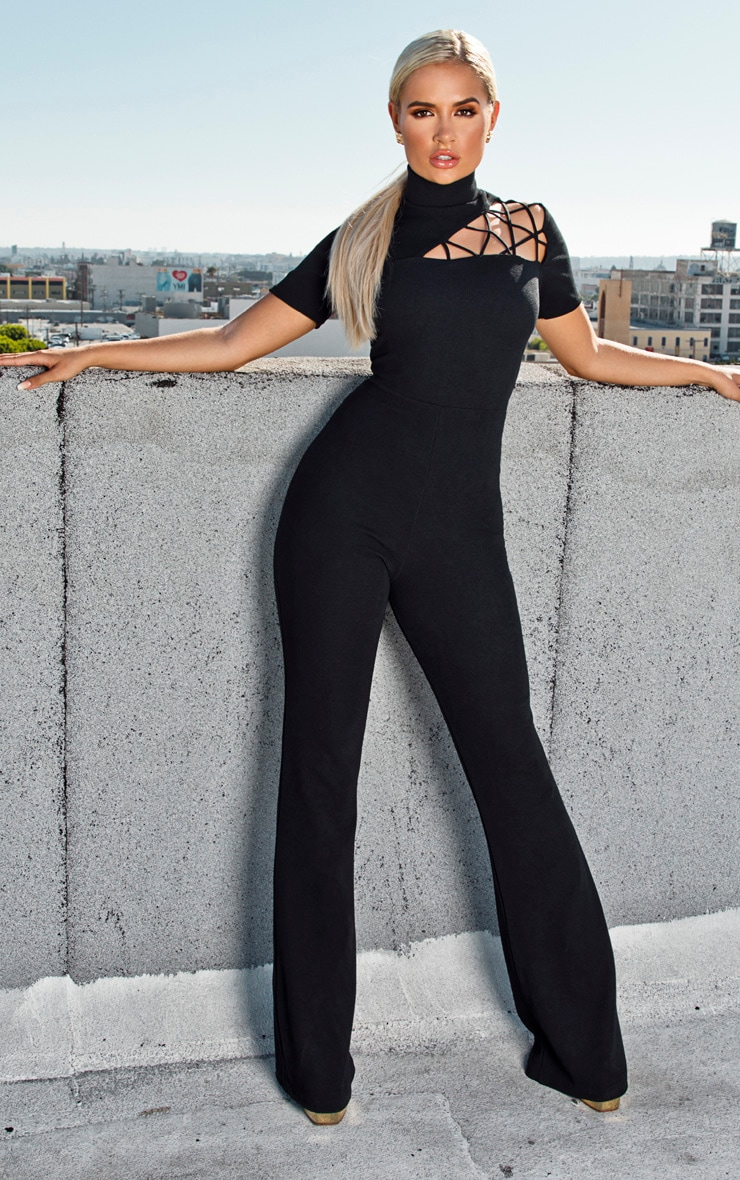 Black Cut Out Shoulder Ribbed Detail Jumpsuit 1