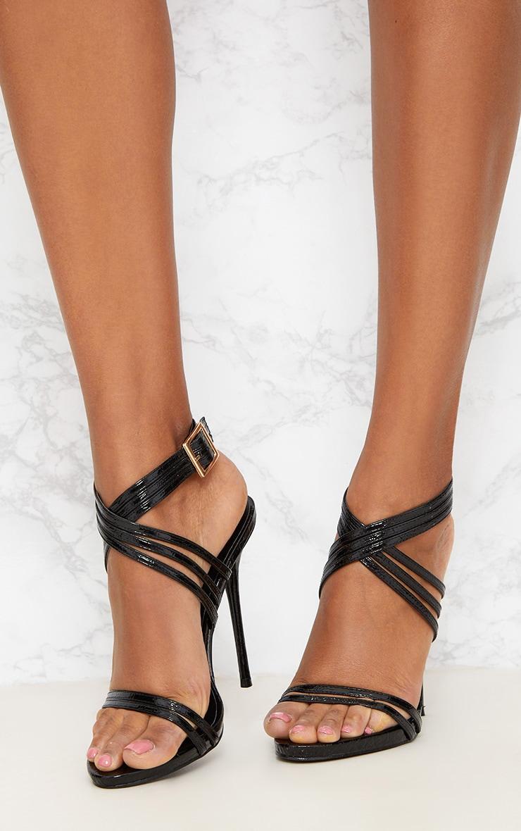 Black Multi Strap Stiletto Heels 2