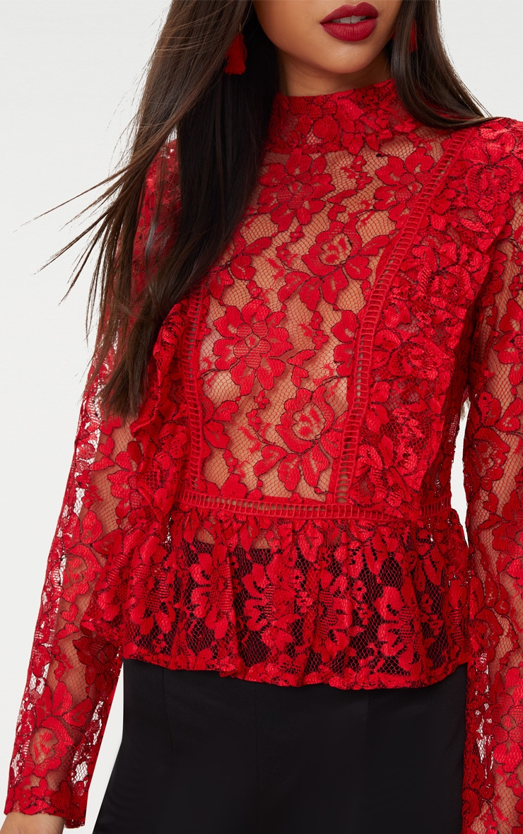 Red Frill Front Lace Blouse  5
