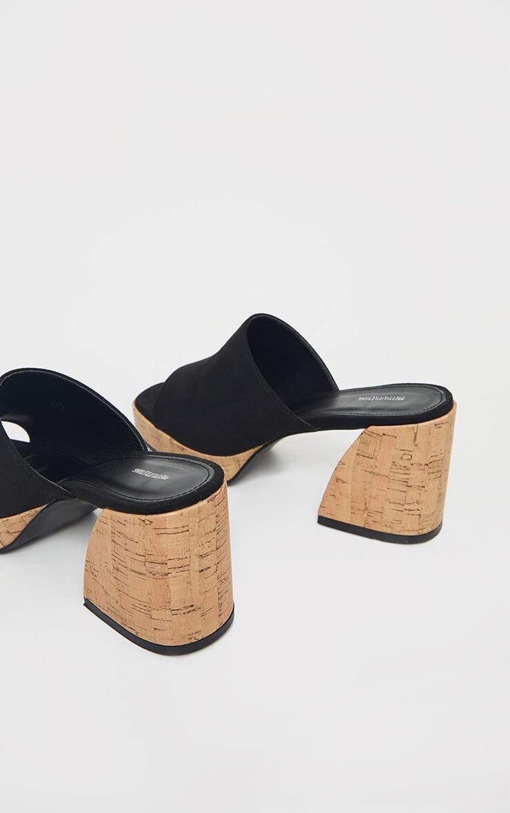 Black Cork Extreme Chunky Heel Platform Mules 4