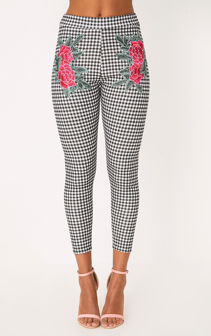 Black Gingham Applique Skinny Trousers 2
