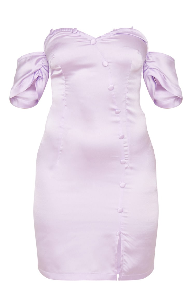 Petite Lilac Button Front Puff Sleeve Satin Bodycon Dress 3