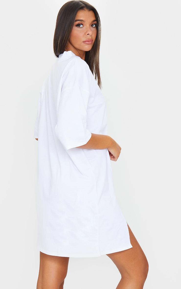 White Split Oversized Boyfriend T Shirt Dress 2