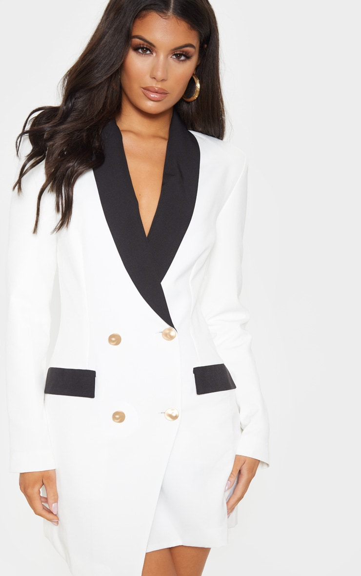 White Gold Button Contrast Blazer Dress 5