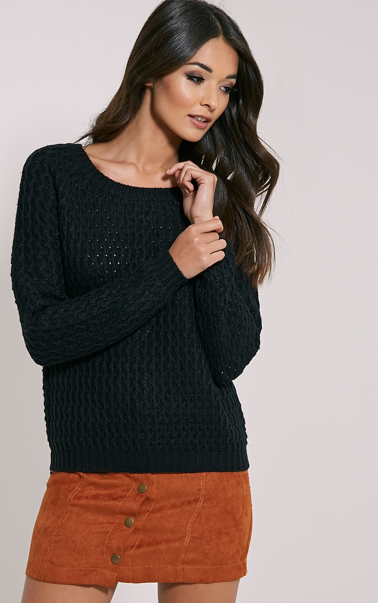 Jaylin Black Cable Knit Jumper 1