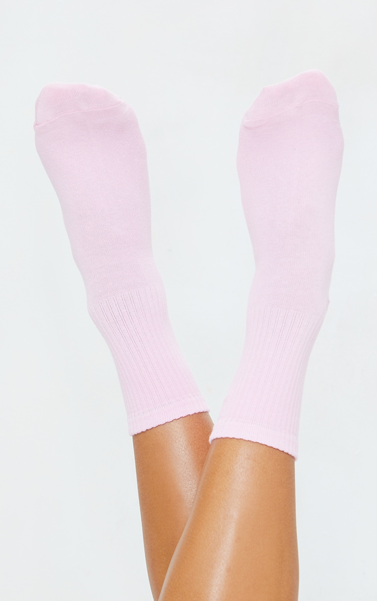 PRETTYLITTLETHING Pink Embroidered Socks 2