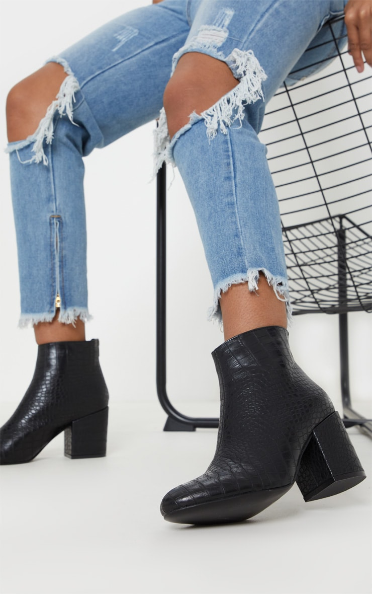 Black Croc Zip Back Ankle Boot 1