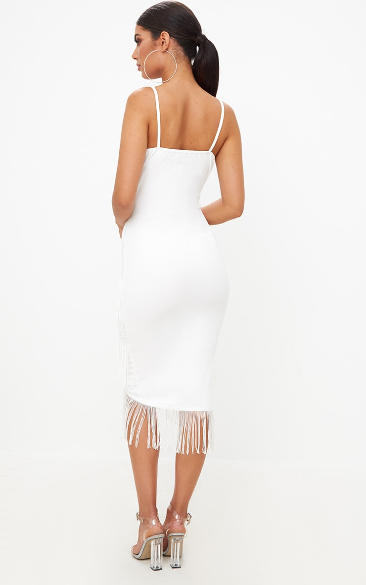 White Strappy Tassel Longline Midi Dress 2