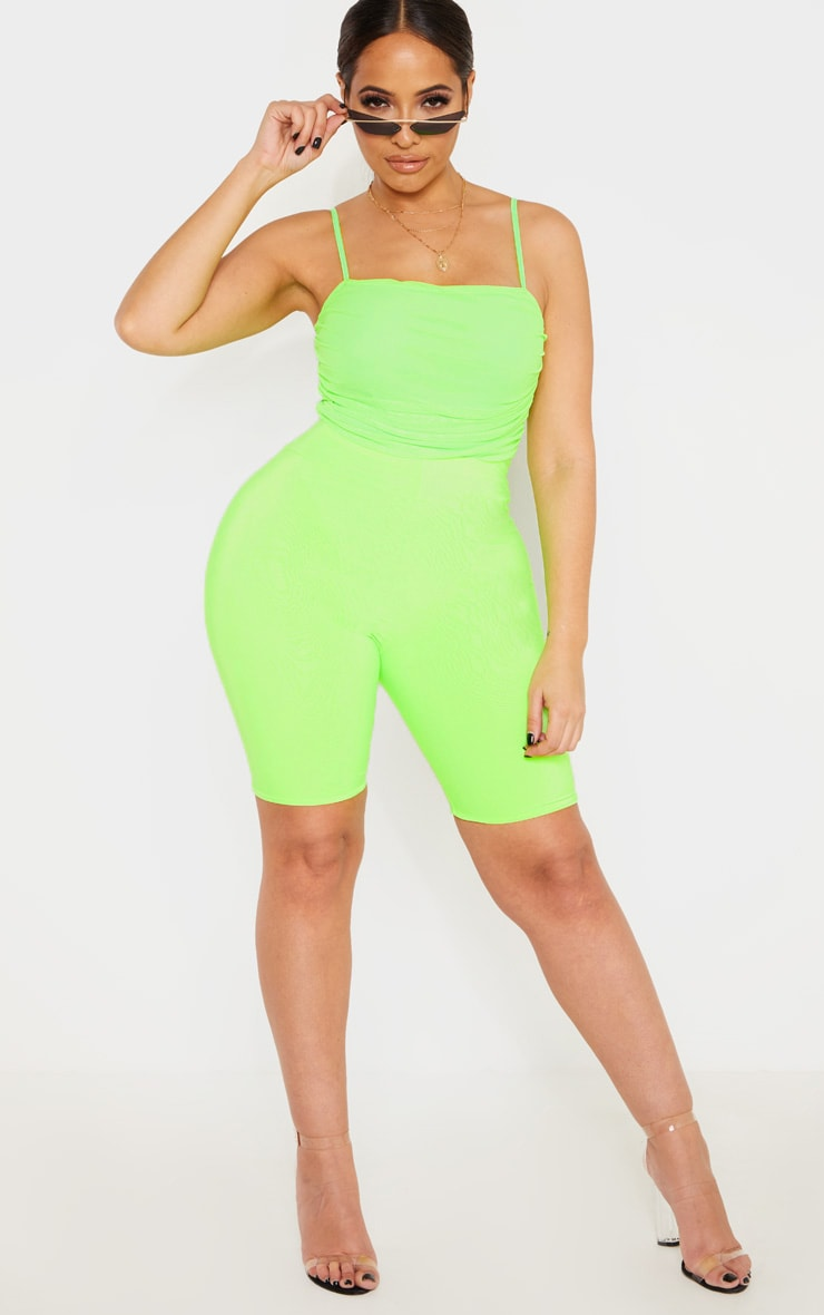 Shape Neon Lime Mesh Ruched Thong Bodysuit 4