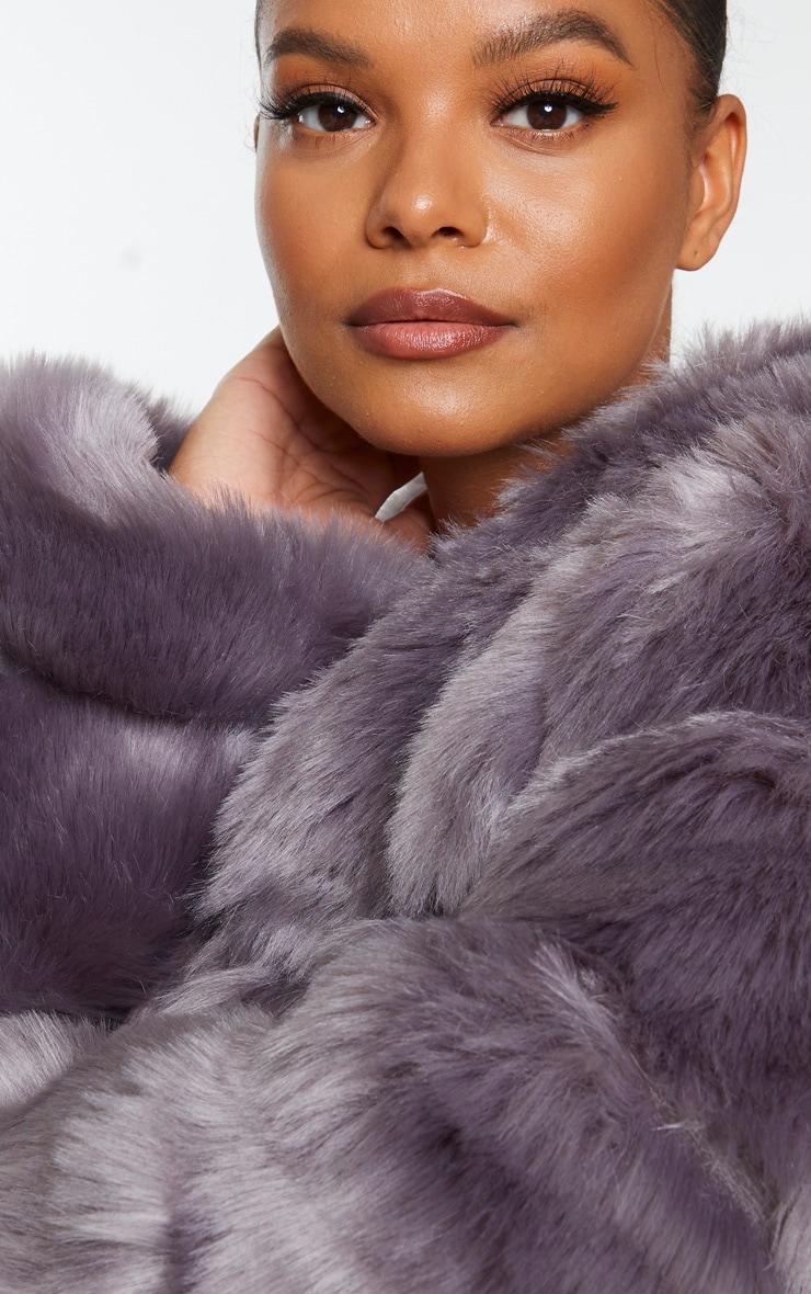 Plus Grey Faux Fur Bubble Coat 4