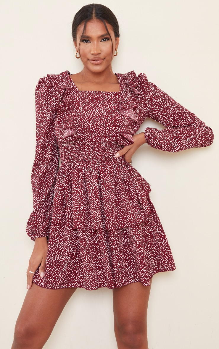 Red Dalmatian Print Ruffle Detail Tiered Shift Dress 1