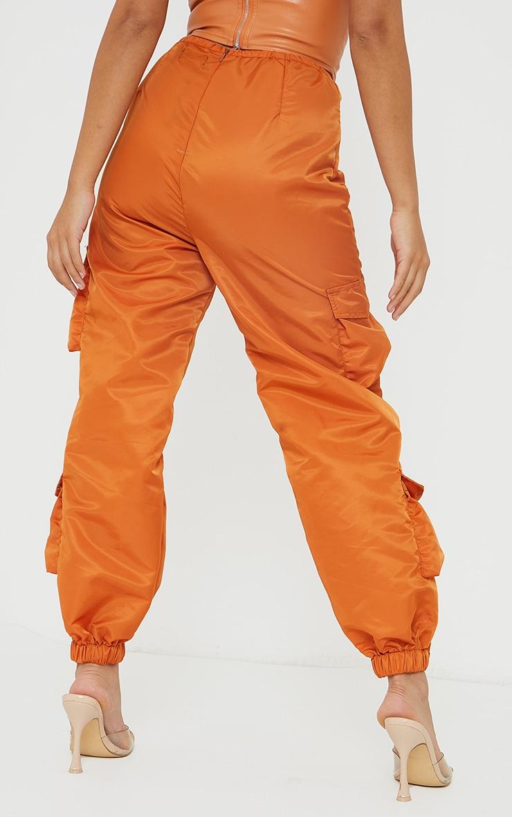Petite Orange Dip Waist Cargo Pants 3