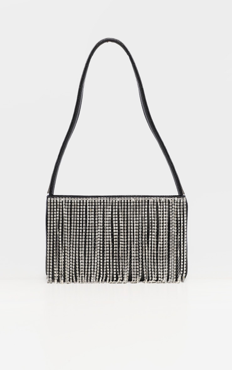Black Croc Diamante Fringe Shoulder Bag 2