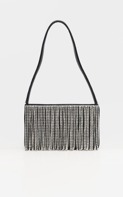 Black Croc Diamante Fringe Shoulder Bag