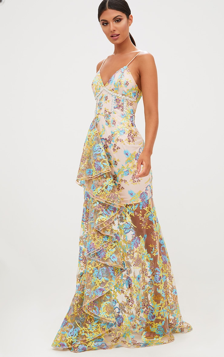 Premium Yellow Floral Embroidered Maxi Dress 5