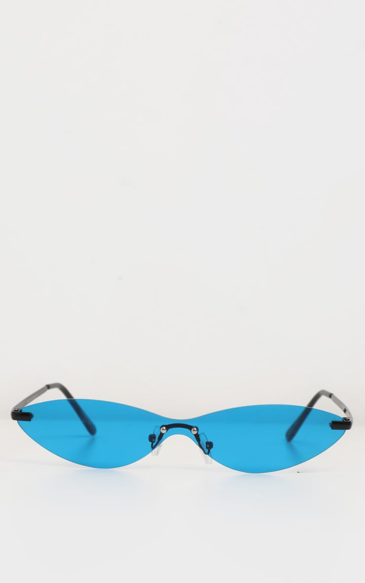 Neon Blue Tinted Frameless Slim Cat Eye Sunglasses 2