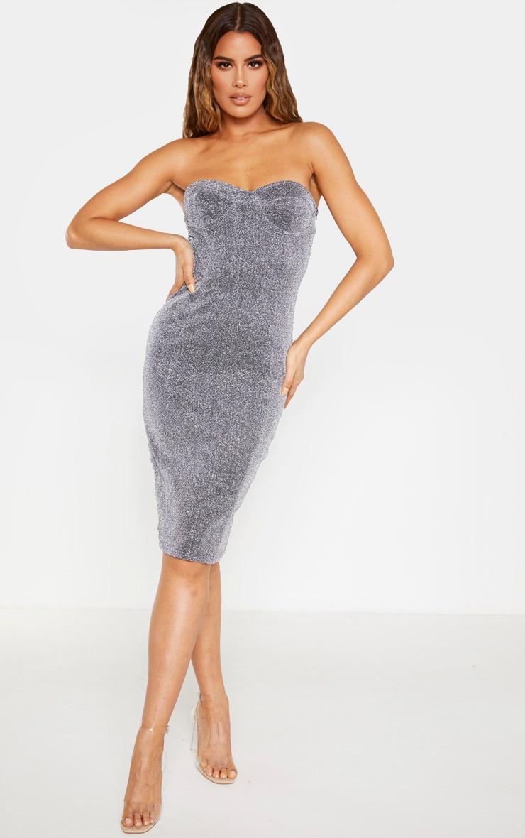 Tall Silver Corset Glitter Midi Dress  1