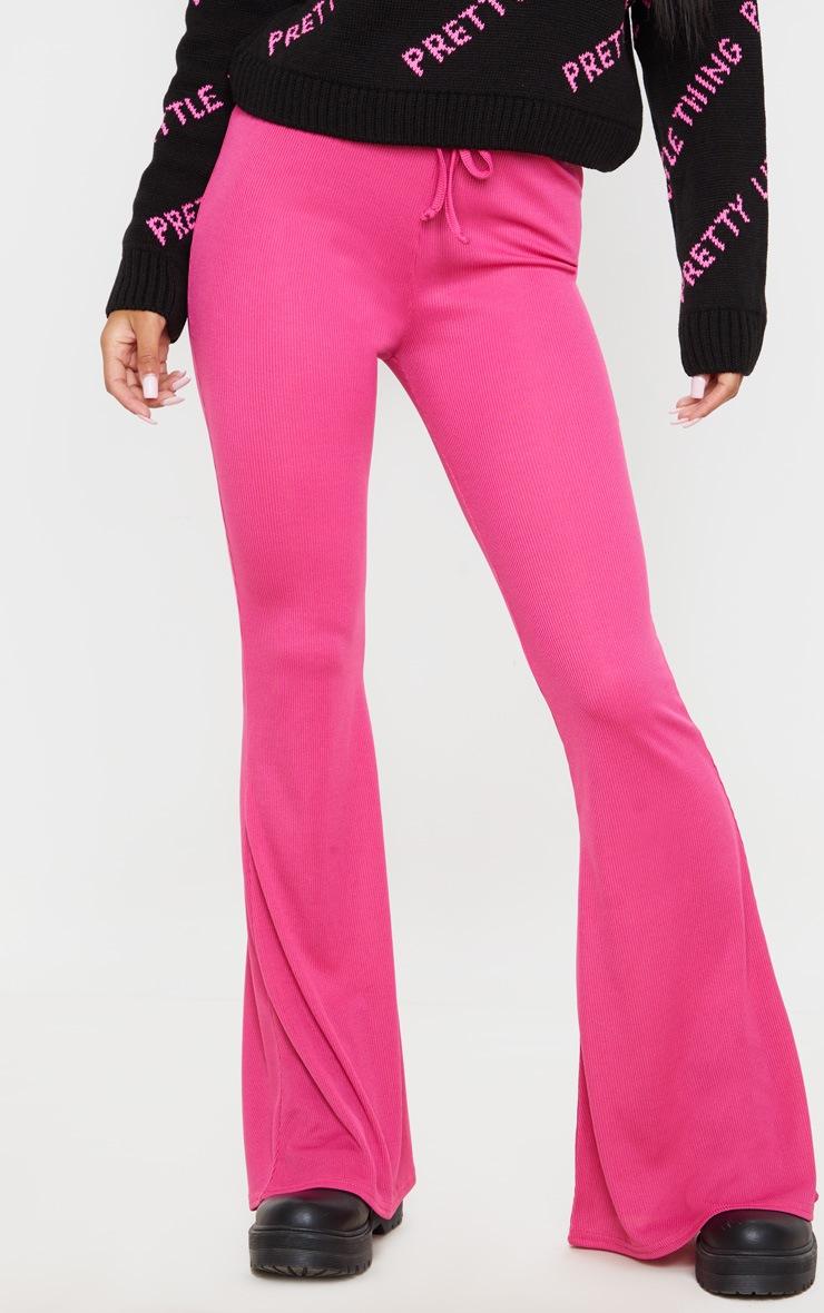 Pantalon flare côtelé rose bonbon à détail noué 2