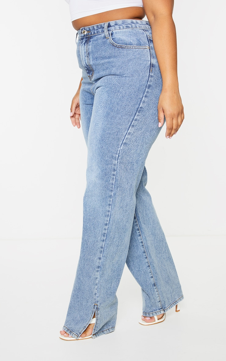 Plus Mid Wash Split Hem Jeans 2