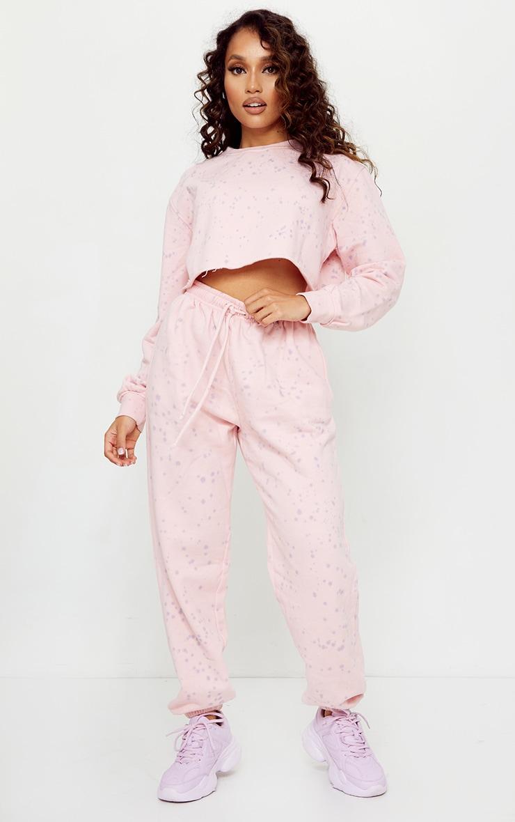 Petite Pink Acid Wash Paint Splatter Joggers 1