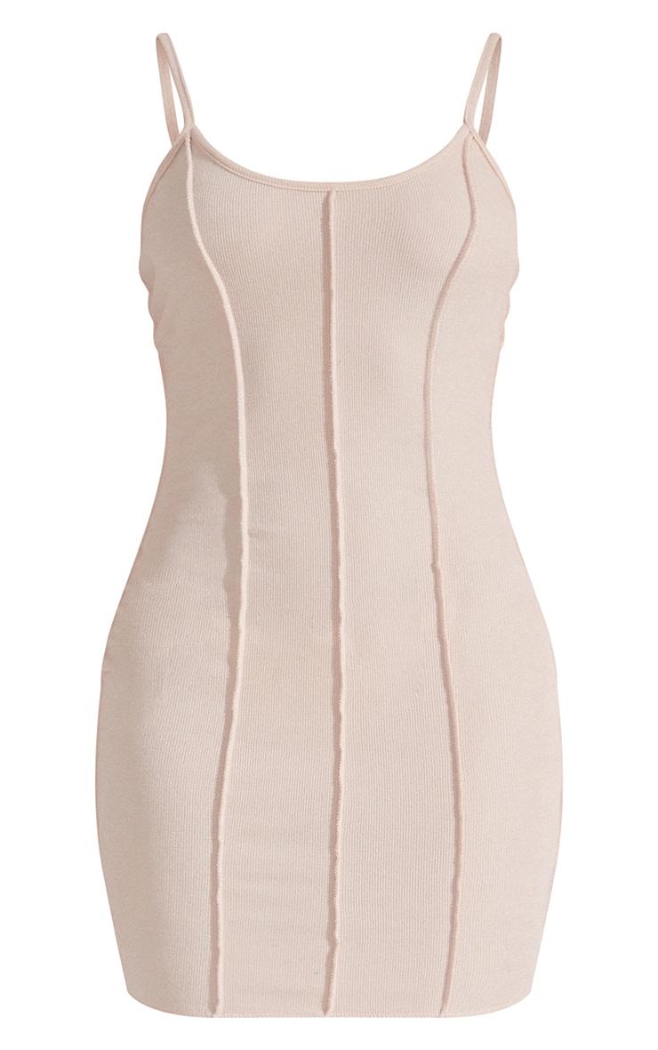 Recycled Beige Rib Raw Seam Strappy Bodycon Dress 5