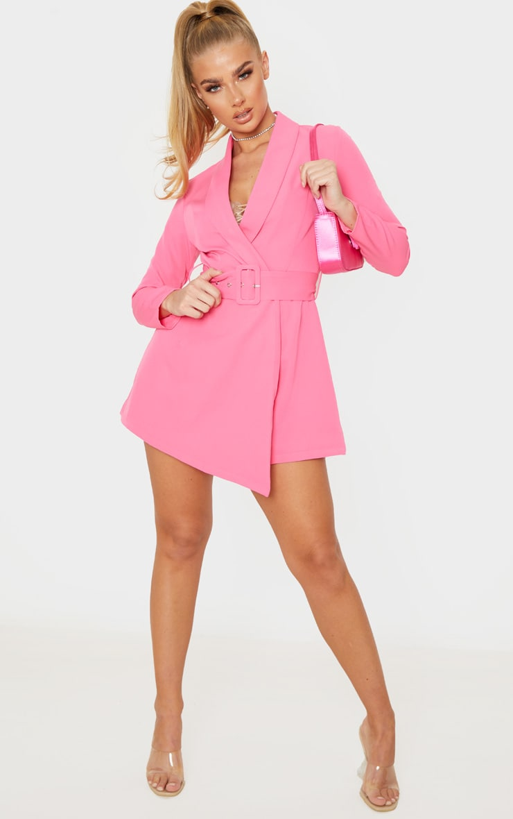 Pink Long Sleeve Tailored Belted Playsuit 4