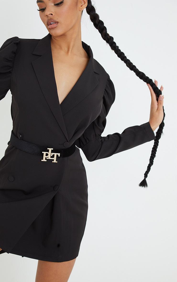 PRETTYLITTLETHING Gold Diamante Buckle Black Velvet Waist Belt 2