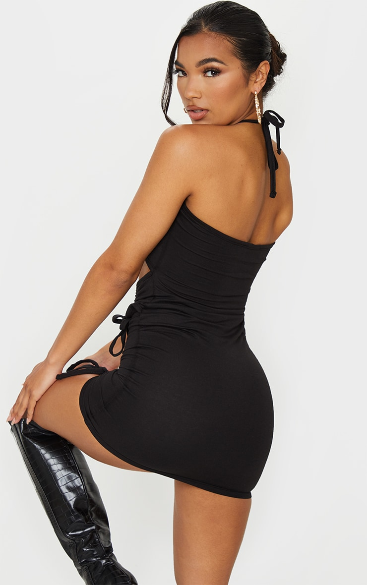 Black Triple Ruched Cut Out Bandeau Bodycon Dress 2