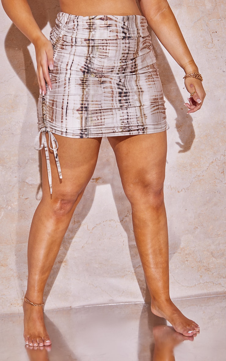 Plus Beige Textured Print Ruched Side Skirt 2