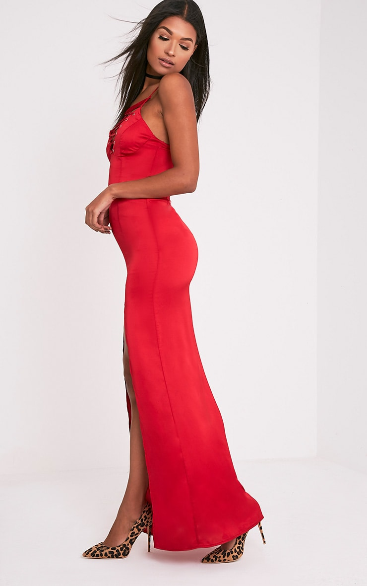 Kiria Red Lace Up Satin Maxi Dress 5