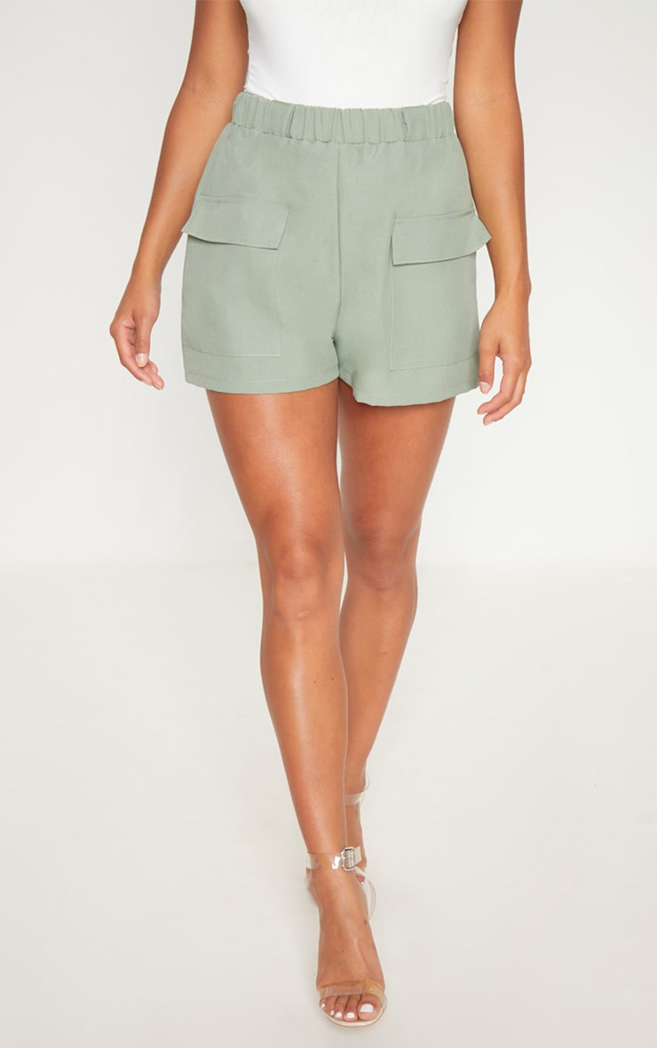 Petite Khaki Pocket Detail Cargo Shorts 2