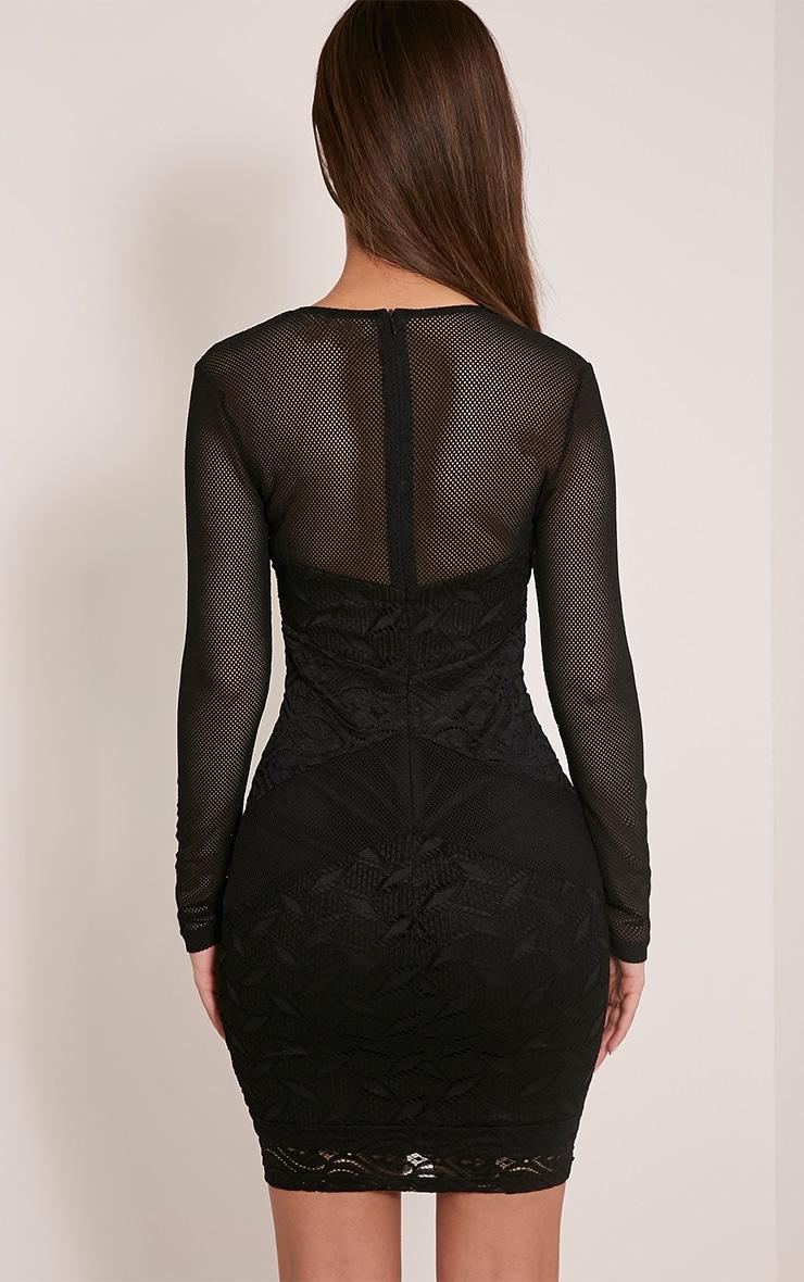 Harley Black Lace Insert Bodycon Dress 2
