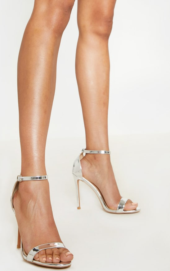 Clover Silver Metallic Strap Heeled Sandals 1