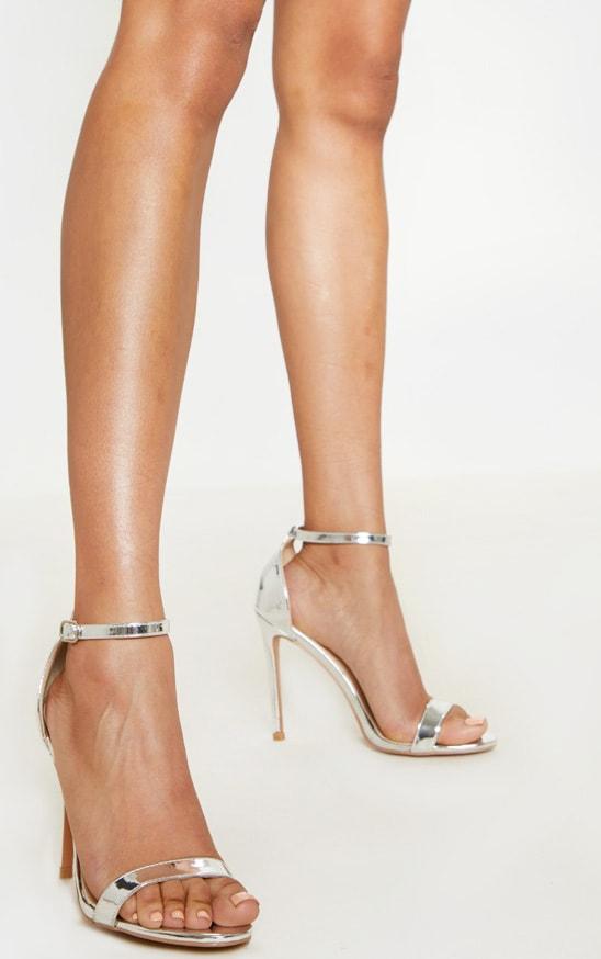 Sandales à talons & bride argentées métallisées 1
