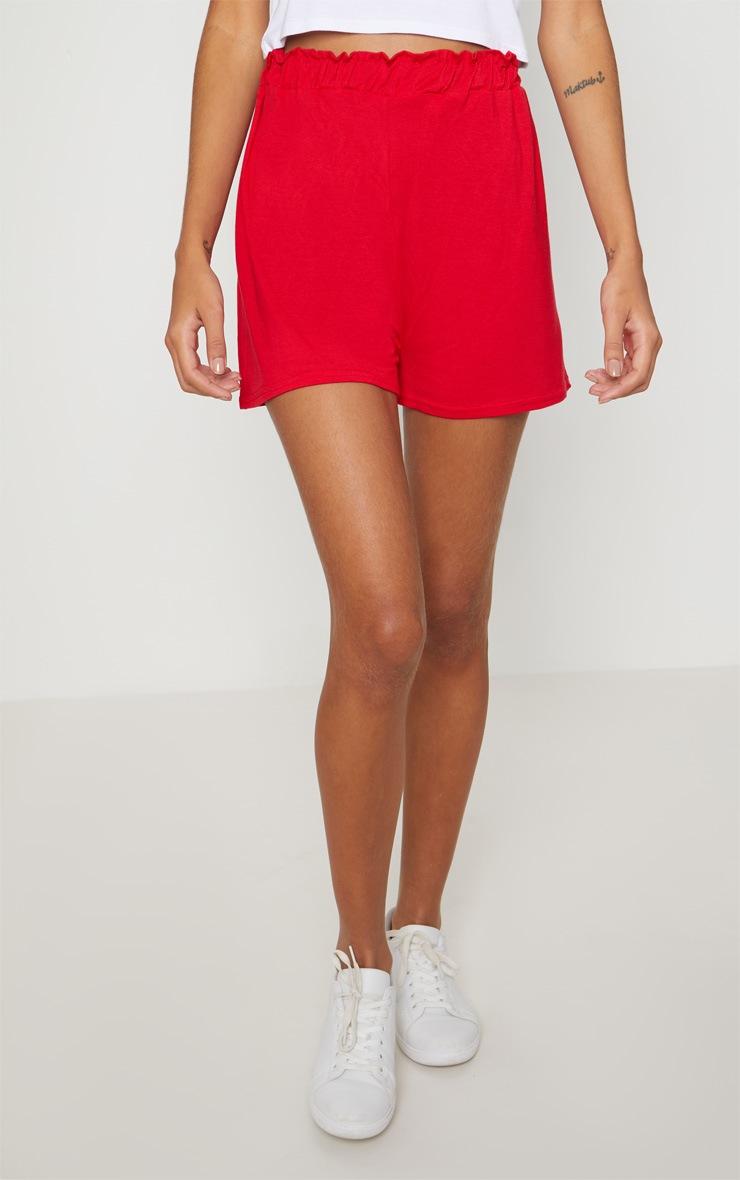 Red Jersey Ruched Waist Short 2