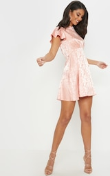 afc8a4d06f Pink Floral Jacquard Ruched Top Skater Dress image 4