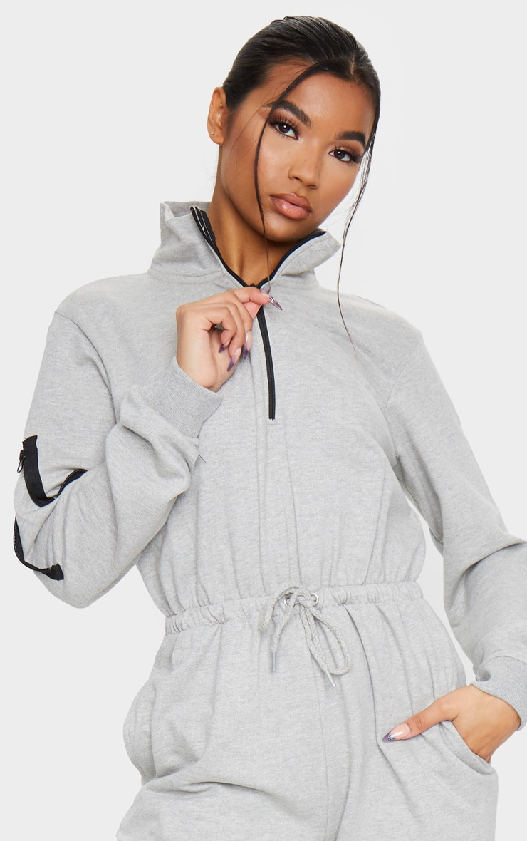 Grey Zip Detail Sweat Jumpsuit 4