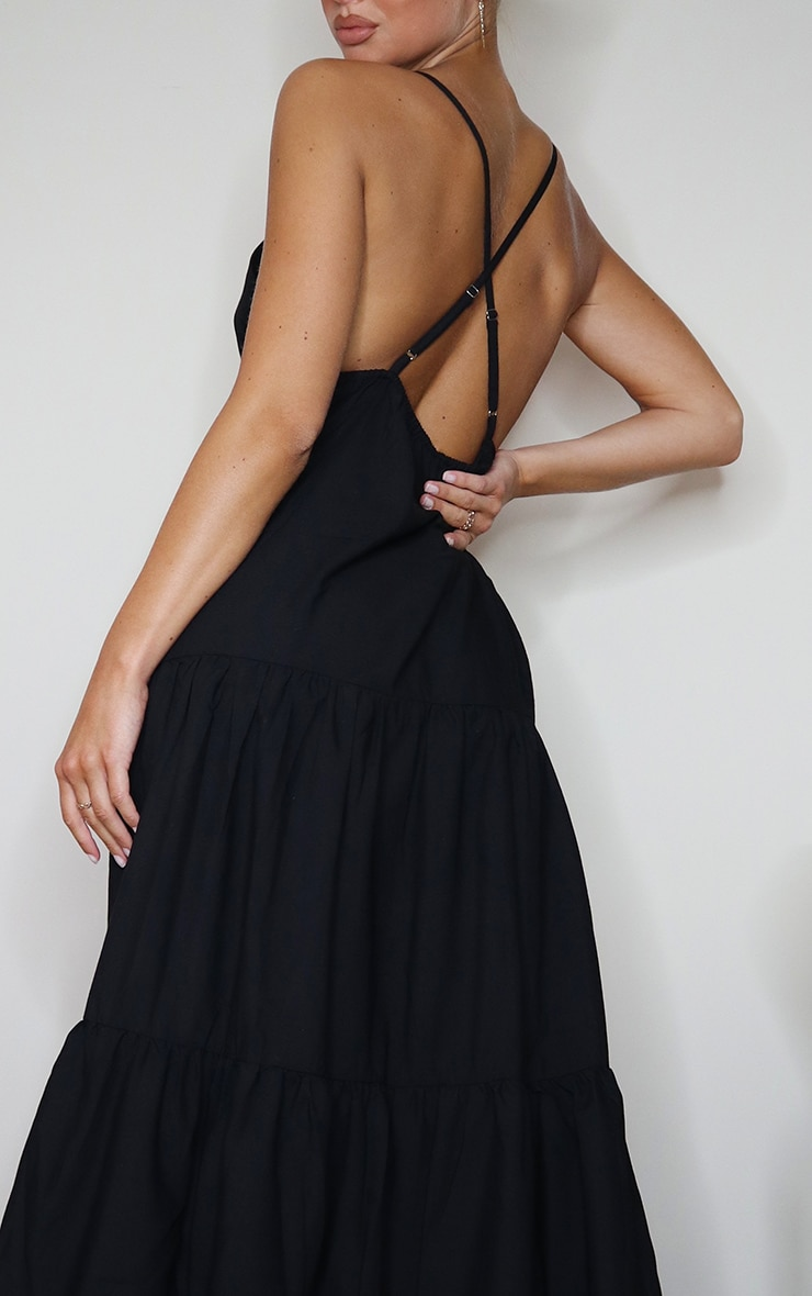 Black Woven Tiered Smock Maxi Dress 4