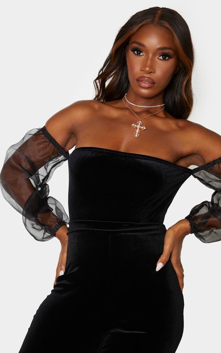Black Velvet Sheer Puff Sleeve Bardot Bodysuit 6
