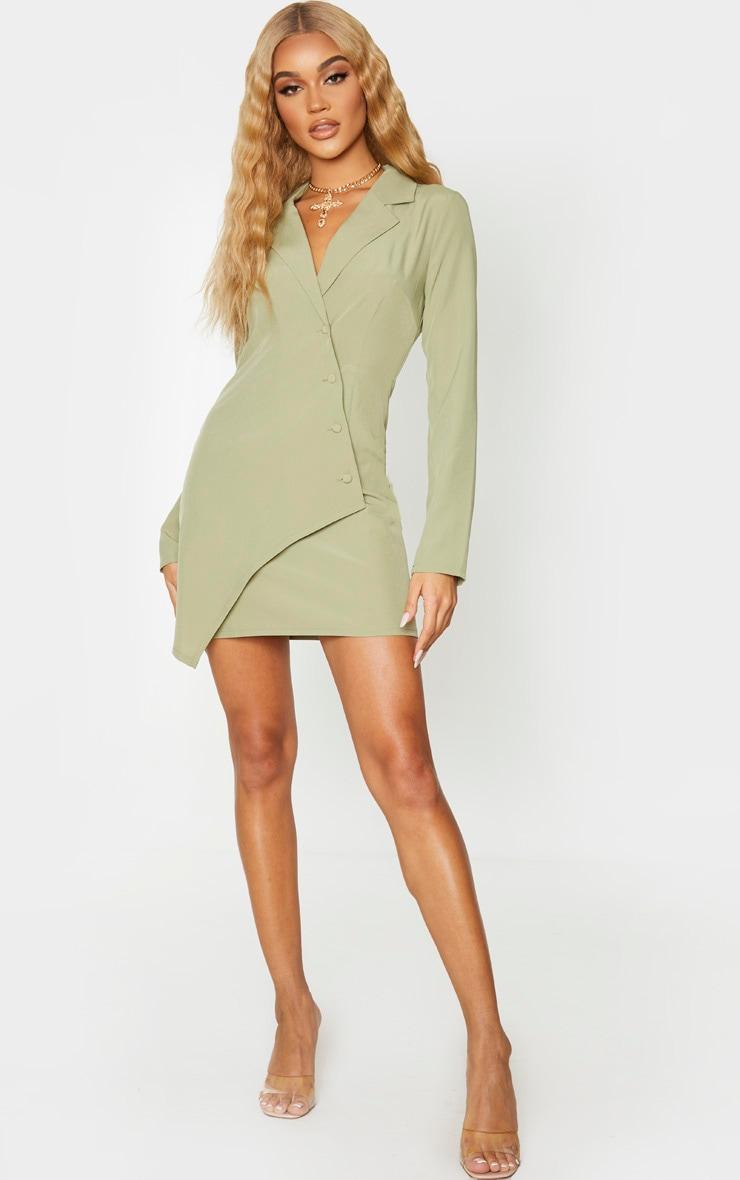 Sage Khaki Button Detail Wrap Blazer Dress 3