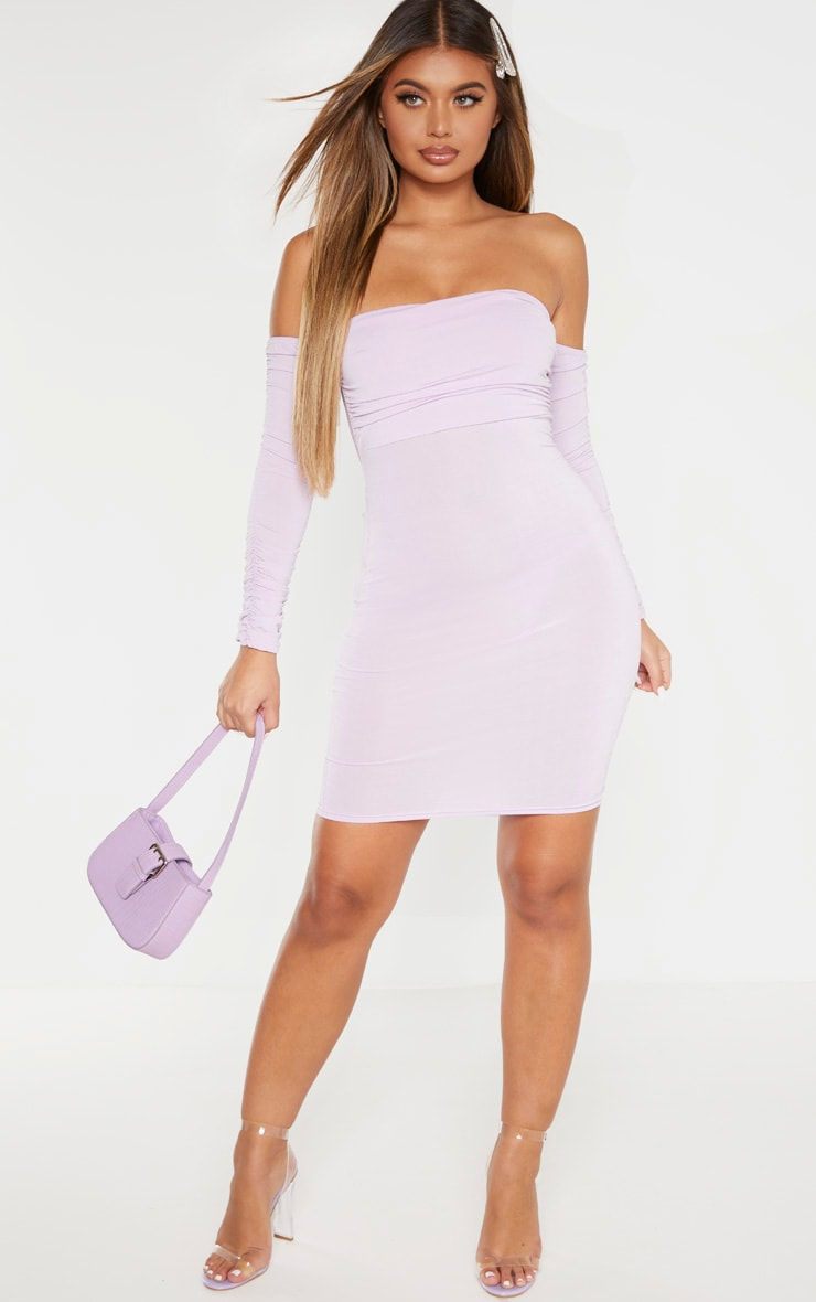 Lilac Ruched Front Arm Bardot Bodycon Dress 4