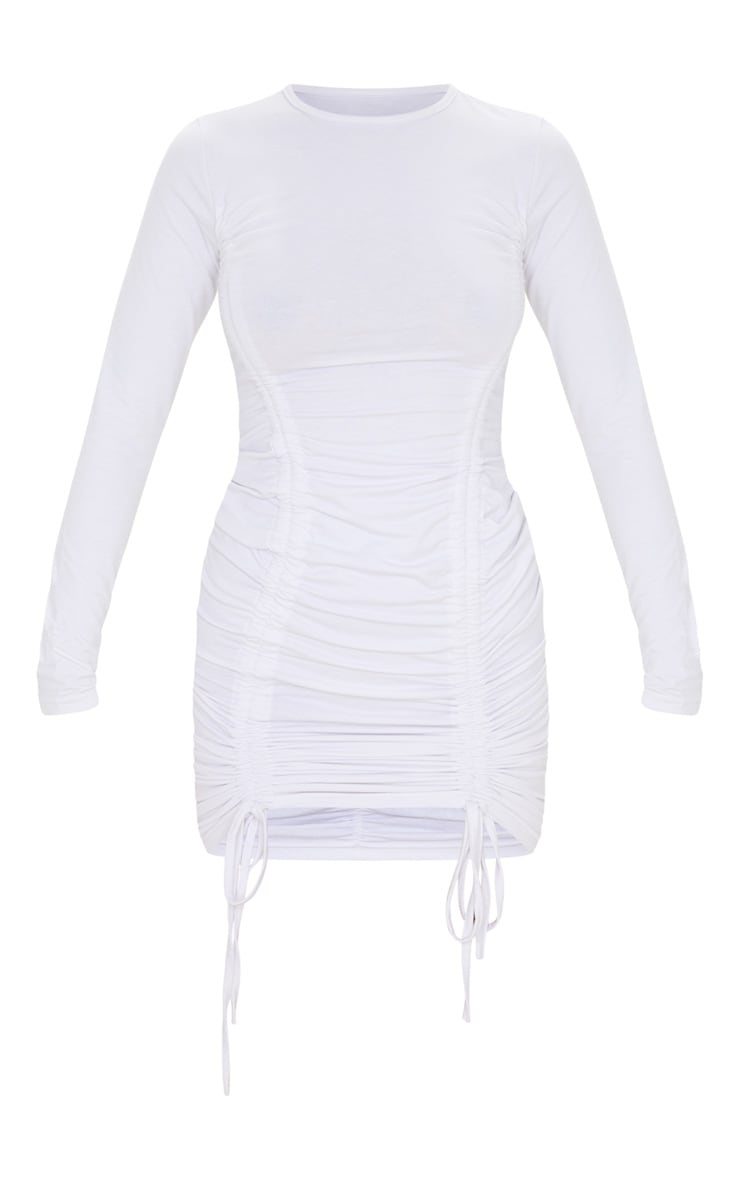 White Long Sleeve Ruched Front Bodycon Dress 3