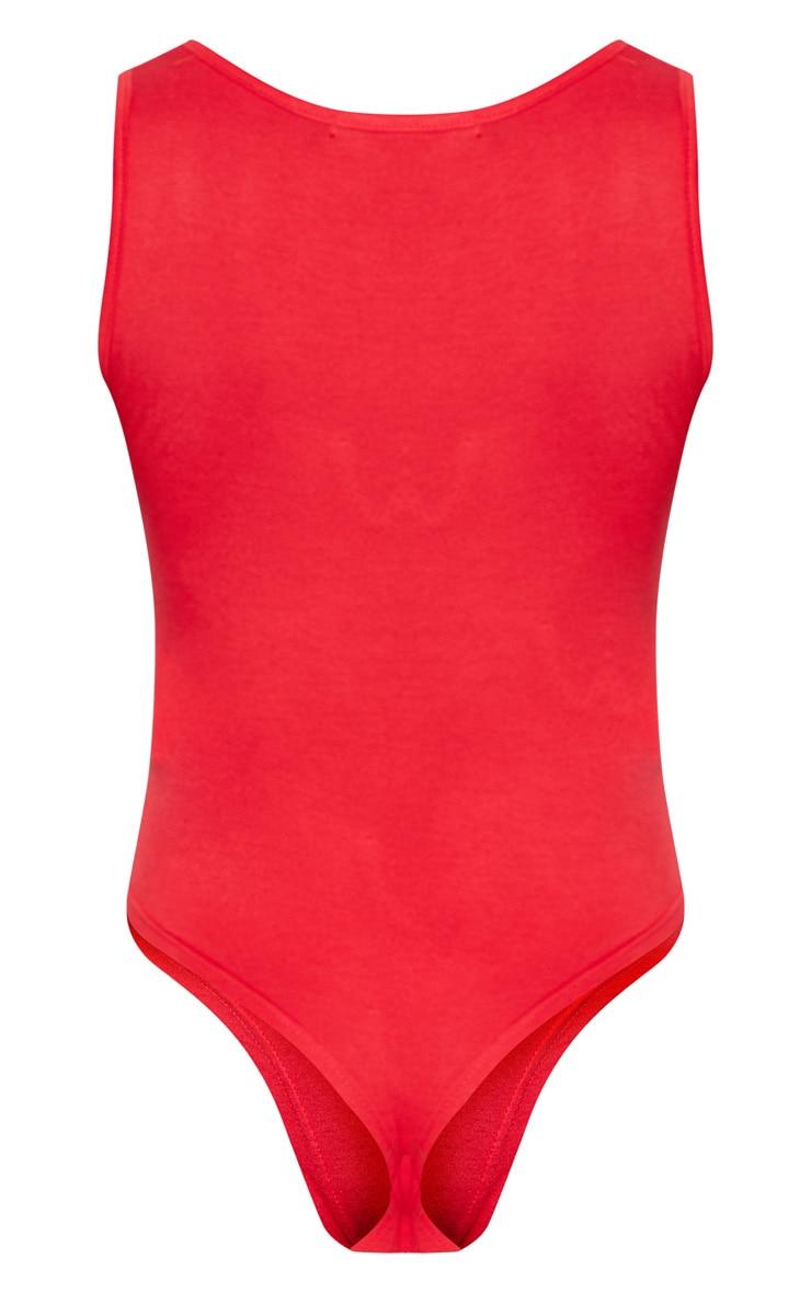 Red V Sleeveless Bodysuit 4