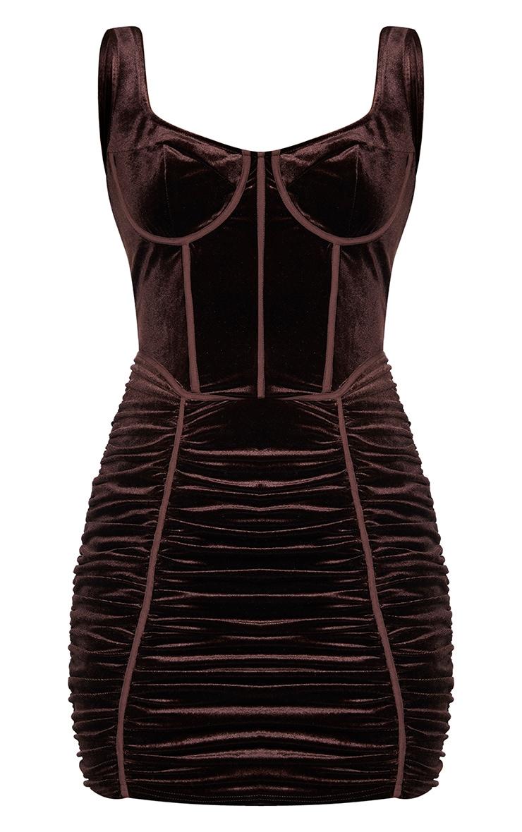 Chocolate Velvet Corset Ruched Binding Detail Bodycon Dress 5
